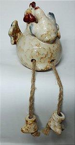 Galinha em Porcelana com Filhote e Pernas de corda