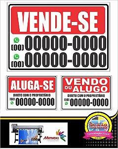 Placa Vende-se/aluga/imobiliaria/corr Pvs Ps 40x30cm