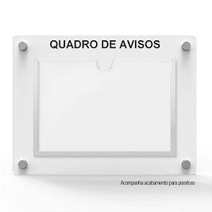 Quadro de Aviso em MDF 1 Folha Horizontal A4 Branco