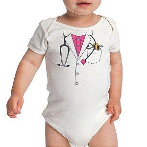 Body Bebê Divertido Médica- Roupinhas Macacão Infantil Bodies Manga Curta Menino Menina
