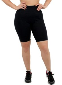 Bermuda Feminina Academia Ginástica Yoga Pilates Esportes Poliamida Fitness - cor Preta