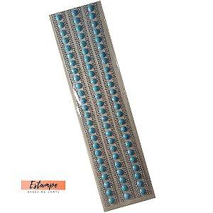Cartela Meia Pérola Azul + Strass pequeno Adesivos