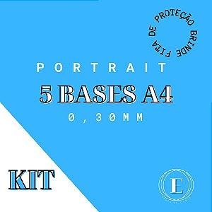 KIT 5 BASES PORTRAIT A4  0,30mm COM COLA + BRINDE: FITA DE PROTEÇÃO