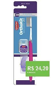 Orthokit Plus  Escova Ortodôntica + Passa Fio + Fio Dental 25 m - (6 unidades)