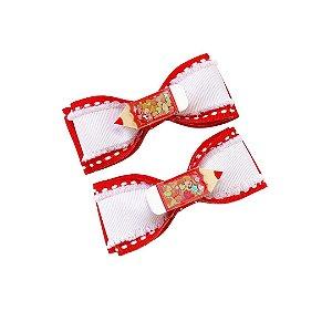 Hair Clip dupla escolar Lápis - Vermelho