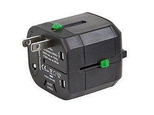 Adaptador Universal de Viagem em Cubo Compacto - Preto