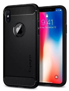 Capa para iPhone X/XS - Spigen Rugged Armor, Matte Black