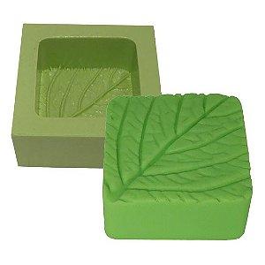 Molde de Silicone Para Velas e Sabonetes Quadrado Folha