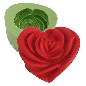 Molde de Silicone Rosa Coração Para Velas e Sabonetes