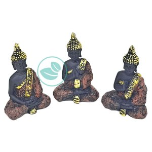 Enfeite Decorativo Trio Budas Mudras- Preto