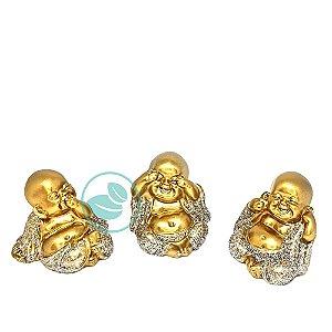 Enfeite Decorativo Trio Bebês Budas Mini Dourado Com Brilho
