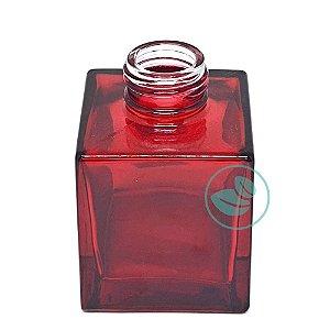 Frasco de Vidro Quadrado Marsala Vermelho Luxo 100ml
