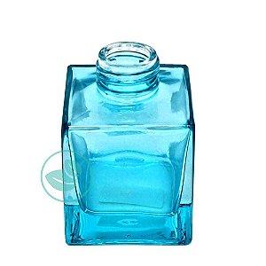 Frasco de Vidro Quadrado Marsala Azul Luxo 100ml