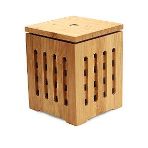 Difusor de Aromas Quadrado Ultrassônico de Bambu Natural Com 200ml