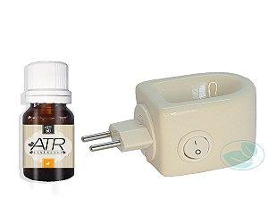 Difusor Elétrico De Tomada Bi-volt Em Porcelana Aromaterapia Branco + Brinde Essência 10 ML