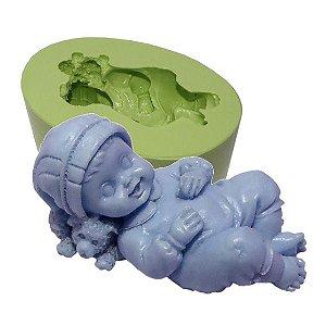 Molde de Silicone Bebê Deitado No Urso Para Velas e Sabonetes