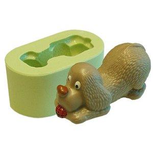 Molde de Silicone Cão Brincando Para Velas e Sabonetes