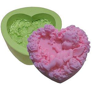 Molde de Silicone Para Velas e Sabonetes Coração Com Anjo e Flores