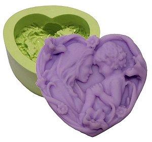 Molde de Silicone Para Velas e Sabonetes Coração Com Flores Mãe e Filho