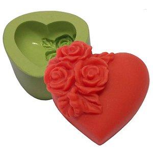 Molde de Silicone Coração Pequeno Com Flores Para Velas e Sabonetes