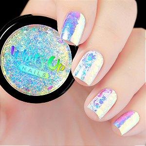 Pó Para Unhas Escamas Efeito Cromado Unicórnio Iridescente Whats Up Nails - Aurora Supreme Flakies
