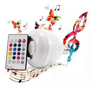 Lâmpada Led Bulbo 12w Rgb Controle Bluetooth Mp3 Toca Músic