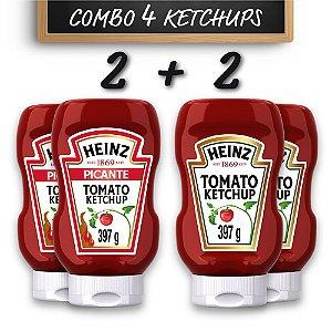 Kit c/ 2 Ketchups Heinz Picante 397g e 2 Ketchups Heinz Tradicional 397g