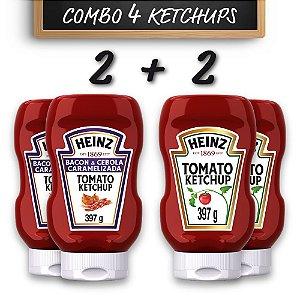 Kit c/ 2 Ketchups Heinz Bacon 397g + 2 Ketchups Heinz Tradicional 397g