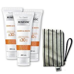 Kit com 3 Neostratas Minesol Corpo & Rosto Protetor Solar Fluido Hidratante FPS 30 200 ml + GRÁTIS linda necessaire excl