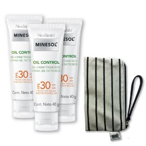 Kit com 3 Neostrata Minesol Oil Control FPS 30 40g + GRÁTIS uma linda necessaire exclusiva com tecido cintilante e alça