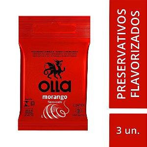 Preservativo OLLA Lubrificado Sabor Morango 3 unidades