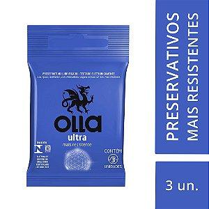 Preservativo OLLA Lubrificado Ultra Resistente 3 unidades