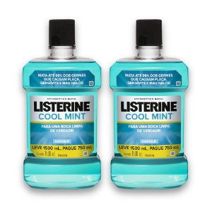 Kit com 2 Antissépticos Bucal LISTERINE Cool Mint Leve 1,5 Pague 750 ml