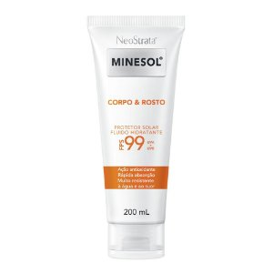 Neostrata Minesol Corpo e Rosto Protetor Solar Fluido Hidratante Antioxidante FPS99 200ml