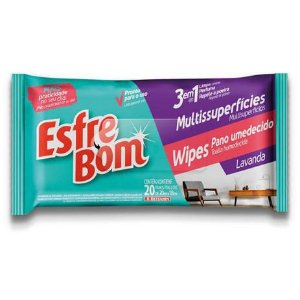 EsfreBom Wipes Pano Umedecido Multissuperfícies Flow Pack Lavanda c/ 20 pano