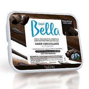 Cera Elástica Quente em Barra Dark Chocolate Blueberry Premium Depil Bella 1kg