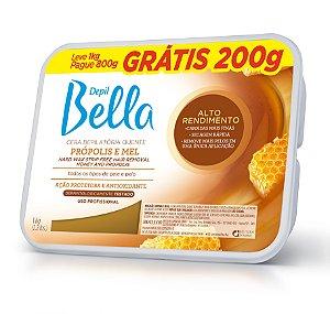 Cera Quente em Barra Depil Bella Propólis e Mel Alto Rendimento 1kg-Grátis 200g