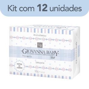 Kit c/ 12 Sabonete Retangular Blue Giovanna Baby Moments 90 g