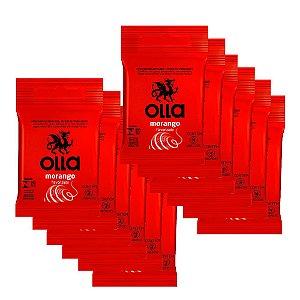 Kit c/ 12 Preservativo OLLA Lubrificado Sabor Morango 3 unidades
