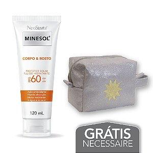 Na compra de 1 Neostrata Minesol Corpo e Rosto Fluido Hidratante FPS 60 120 ml Leve 1 Necessaire Prata com Glitter