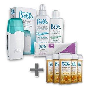 Kit Depilação Roll-on Depil Bella + 5 Refil Cera Depilatória Mel 100g