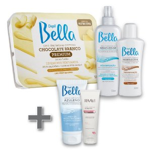 Kit Depilação Depil Bella + Creme Azuleno 50g + Creme Hidratante Ureia 10% Raavi 200g