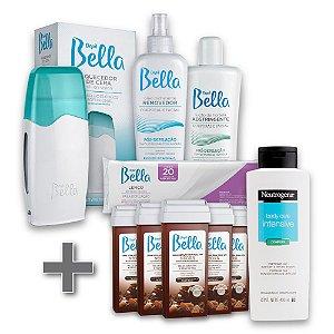 Kit Depilação Roll-on Depil Bella + 6 Refil Cera Negra 100g  + 1 Hidratante Corporal Neutrogena 400ml