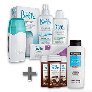 Kit Depilação Roll-on Depil Bella + 3 Refil Cera Negra 100g  + 1 Hidratante Corporal Neutrogena 400ml