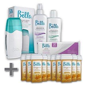 Kit Depilação Roll-on Depil Bella + 10 Refil Cera Depilatória Mel 100g