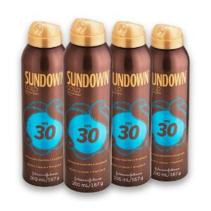 Kit com 4 Protetores Solar SUNDOWN Gold FPS 30 Spray 200ml
