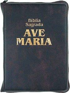 Bíblia Zíper - Média Marrom Ave Maria