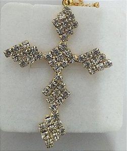 Corrente com pingente de crucifixo strass