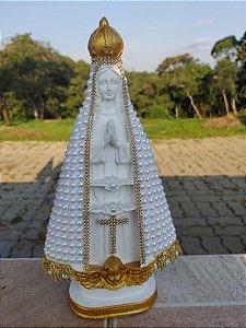 Imagem de Nossa Senhora Aparecida artesanal pérola.
