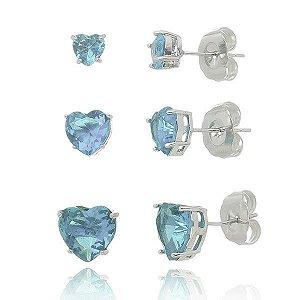 Trio de Brincos de Coração Azul Ródio